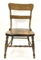 """Antique Wooden Child's Chair Sturdy Unique Hardware Well Crafted 26"""" Tall -"""