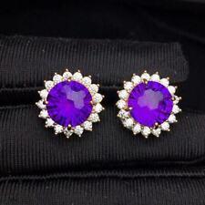 Certified Genuine Romantic Amethyst 925 Sterling Silver Earrings Women Gift