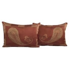 2 pcs Standard Size Puce-Red Jacquard Satin Paisley Pillow Cases/Cushion Covers