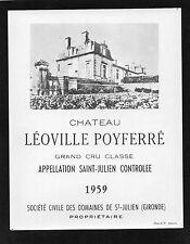 SAINT JULIEN 2E GCC VIEILLE ETIQUETTE CHATEAU LEOVILLE POYFERRE 1959 RARE§24/08§