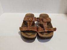 Aravon Womens Brown Leather Slide Sandals Size 7 D
