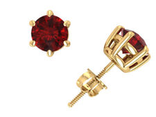 Natural 1Ct Round Cut Ruby Basket Stud Earrings 14k Yellow Gold Prong ScrewBack
