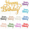 10pcs Happy Birthday Cake Toppers Flag Glitter Calligraphy Bling Sparkle Decor