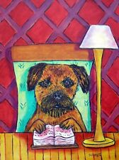 Border Terrier dog art poster gift small library pet 4x6 Glossy Print