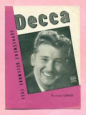 CATALOGUE DISQUES DECCA ( 1951 ) - ILLUSTRATION  RAYMOND GIRERD