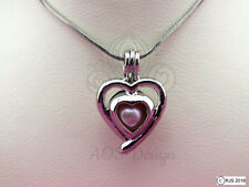 Pick A Pearl Cage Silver Heart Charm Holds a Pearl Bead Gem Locket CHARM ONLY