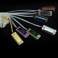 Mini 4 Hole 8 Tone Harmonica Metal Necklace Design Chain Toy Gift Color Random