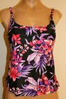 NWT Island Escape Swimsuit Tankini Top BLK Pink Add A Size Top Sz 8 PURP
