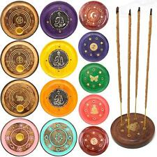 Round Wooden Incense Josh Stick Cone Plate Holder Ash Catcher Home Fragrance UK