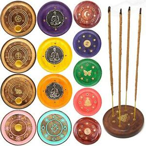 Round Wooden Incense Josh Stick Cone Plate Holder Ash Catcher Home Fragrance UK