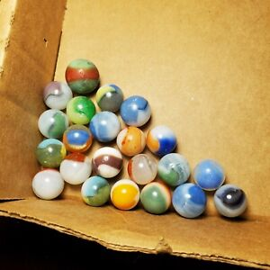 """Lot of 22 Vintage Patch Marbles Akro Vitro Alley Master CAC MFC .60"""" - .72"""""""