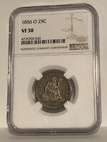 1856-O Liberty Seated quarter, NGC VF30, crusty original PQ+