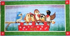 Religious Psalm Birds Singing Quilt Square Wall Hanging Cotton FABRIC PANEL NEW