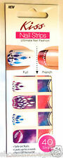 Kiss Nail Stick on Applique Strips French or Full 40 Strips DMT 566 Leaf Design