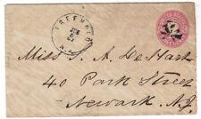 1867 Freehold NJ U58 Postal Stationery Entire to Newark