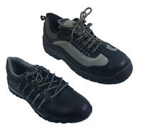 MENS SAFETY STEEL TOE CAP TRAINERS LEATHER LACE WORK SHOES BOOTS SIZE 4 - 12