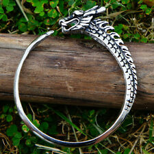 Ouroboros Uroborus Norse Celtic Dragon Serpent Infinity Pewter Bangle Bracelet