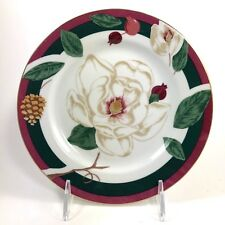 """MAGNOLIA 8"""" SALAD PLATE SET OF 4 TIENSHAN FINE CHINA FLOWER REPLACEMENT DISHES"""