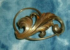 "Signed Forstner Floral Pin Brooch 2"" Vintage Sterling Silver Gold Over Sterling"