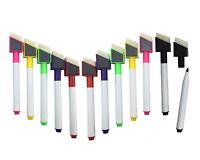 12 Magnetic Shaped white board marker colour pen set dry wipe markers eraser