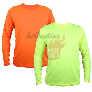 Men Hi Vis Work Safety Sport High Visibility Plain Green/Orange Long Sleeve