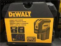 NEW DEWALT DW08301 100-Feet Self-Leveling 3 Beam Laser Pointer with Batteries