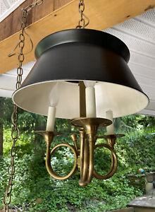 Vintage Black Metal Bouillotte Chandelier French Brass Hunt Horn Swag Light
