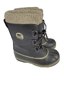 Sorel Yoot Pac Black Leather Rubber Winter Boots Youth Size 3 NY1880-013