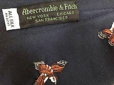 Vintage Navy SILK ABERCROMBIE & FITCH Embroidered Bird QUAIL NECKTIE Tie + BOX