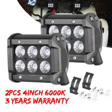 Pair 4INCH Offroad Car LED Driving Fog Lights Backup Bumper Pods 2Row Boat 6000K