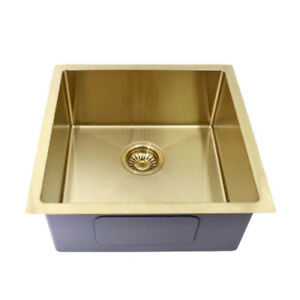 450*450*200mm Sink 1 Bowl Stainless Steel Gold Round Edge for Kitchen Laundry