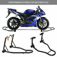 Motorcycle Bike Front & Rear Stand Motorbike Lift Heavy-Duty Paddock Carrier