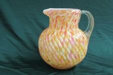 Victorian Spatter Art Glass Twisted Swirl Pitcher with Applied Ribbed Handle