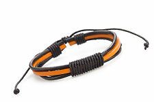 Genuine Leather Bracelet Mens  Unisex  Wrap Tribal Black Orange Adjustable H2