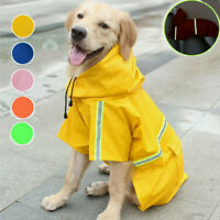 Waterproof Hooded Pet Raincoat Coat Jacket Puppy Dog Reflective Rainwear Clothes
