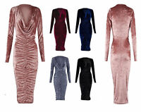 Women Ladies Crushed Velvet Cowl Neck Long Front Ruched Midi Dress Sizes 8-28