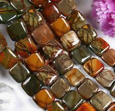 "Nature 12MM SQUARE PICASSO JASPER GEMSTONE LOOSE BEADS STRAND 15 ""AAA"