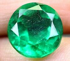 7.75 Ct Colombian Natural Green Emerald Round Cut Certified Loose Gemstone B7607