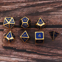 7x Polyhedral Metal Dices Set Board Game Casino Gambling Entertainment Toy H