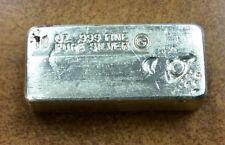 {BJStamps}  Vintage Old Global Metals Refiners 10oz .999 Silver loaf Poured Bar