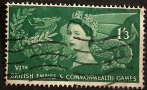 Great Britain 1958 Dragon of Wales with laurel branch Queen (Collectible Stamp)