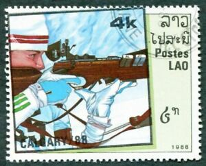 LAOS 1988 4k SG1047 used NG Winter Olympic Games Calgary 2nd Biathlon c #W31