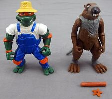 Master Splinter and Farmer Mike 2 Vintage TMNT Action Figures by Playmates Toys