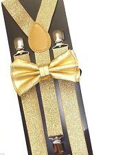 Metallic Sparkly Glitter SUSPENDER and BOW TIE Matching SET Tuxedo  US SELLER