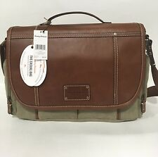 NEW TOMMY BAHAMA CASUAL CANVAS / LEATHER MESSENGER BAG $300 KHAKI COGNAC