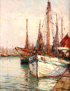 ANDRE BERONNEAU (1896-1973) SIGNED FRENCH IMPRESSIONIST OIL BOATS ROYAN HARBOUR