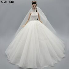 "White High Neck Fashion Wedding Dress For 11.5"" Doll Outfits Gown Doll Clothes"