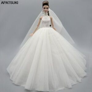 """White High Neck Fashion Wedding Dress For 11.5"""" Doll Outfits Gown Doll Clothes"""