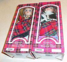 (2) Rare LEONARDO COLLECTION Collector's Porcelain Scottish Dolls NIB
