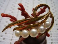 Vintage Mikimoto 14 K Solid Gold Five Cultured Seawater Pearls